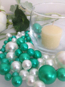 Bowl & Vase Filler Pearls Shamrock Green & White Pearls - No Hole Pearls, 80 jumbo & mix size pearls