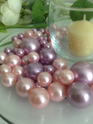 Bowl & Vase Filler Pearls Dusty Coral & Lilac Pearls - No Hole Pearls, 80 jumbo & mix size pearls