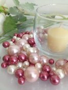 Bowl & Vase Filler Pearls Mauve Pink, Light Pink & White Pearls - No Hole Pearls, 80 jumbo & mix size pearls