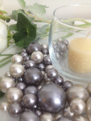 Bowl & Vase Filler Pearls Grey & Silver Pearls - No Hole Pearls, 80 jumbo & mix size pearls