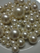 Vase Filler Pearls For Floating Pearl Centrepieces, 80 Ivory Pearls Jumbo & Mix Size Pearls,