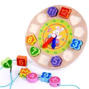 Lanlan Wooden Digital Geometric Nesting Clock Colourful Shape Matching Blocks Educational String Toy Gift for Kids Rabbit