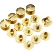 10pcs 6 x 4.5mm Flat Belt Screw Leather Craft Brass Solid Rivets Stud Head