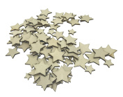 100 Pcs Mixed Size Mini Wooden Star Shape Crafts Card for Scrapbooking Embellishments DIY Wood Button