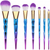 EmaxDesign Makeup Brush Set 7 Pieces Colourful Diamond Patterned Shaped Handle Makeup Brushes Professional Foundation Blending Blush Eye Face Liquid Powder Cream Cosmetics Brushes Kit
