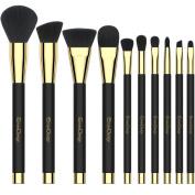 EmaxDesign 10 Pieces Makeup Brush Set Professional Foundation Blending Contour Eyeshadow Brow Blush Lip Eye Face Liquid Powder Cream Cosmetics Makeup Brushes tool Kit