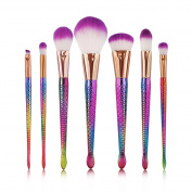 Liibot 2017 New Fashion 7PCS Mermaid Makeup Brush Set Cosmetic Brush Tools Fish Tail Bright Colour Handle Makeup Brush.