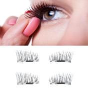 OVERMAL News 4pcs Ultra-thin 0.5mm Magnetic Eye Lashes 3D Reusable False Magnet Eyelashes