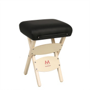 Minerva Portable Wooden Massage Stool with Carry Handle - Salon Spa Makeup