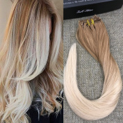 Full Shine 60cm 100g 7 Piece for Full Head Clip in Remy Human Hair Extensions Ombre Colour #12 Golden Brown to Colour #24 Light Blonde