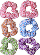 Floral Cotton Hair Scrunchies Daisy Print . Assorted Colours by Shropshire Supplies
