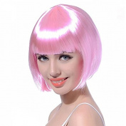 Asifen Colourful Heat Resistant Synthetic Short Straight Bob Wigs for Women Full Wig Light Pink