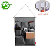 Hanging Wall Organiser Storage pockets Over the Door Storage Bag with 7 Pockets Oxford Fabric, Grey