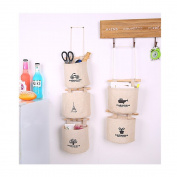 S Kaiko Dog Pattern Fabric Hanging Organiser with Pockets Hanging Storage Bag Case Wall Door Closet 5 Wall Pockets