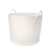 Mkono Cotton Rope Storage Baskets Large Basket with Handles for Baby Nursery and Kid's Toy Storage, White