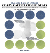CHILDREN'S CRAZY CARPET CIRCLE SEATS - Blue Vibe & Green Limeade Set | 46cm Round Rug Mats / Floor Seats SCHOOL & HOME Favourite (Set of 12 Seats