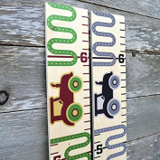 Growth Chart Art | Kids Growth Chart | Height Chart for Kids | Growth Ruler for Boys | Tractor Brown w/ Green