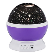 Night Lighting Lamp Romantic Rotating Cosmos Star Sky Moon Projector , Rotation Moon and Stars Night Projection Plug in or Battery Powered for Children Kids Bedroom