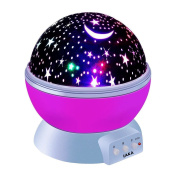LAKA Constellation Night Light, 4 Colours 360 Degree Romantic Room Rotating Cosmos Star Projector with USB Cable, Starry Moon Sky Night Projector Kid Bedroom Lamp for Christmas- 2017/2018