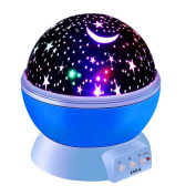 Constellation Night Light, LAKA 4 LED Bead 360 Degree Romantic Room Rotating Cosmos Star Projector with USB Cable, Starry Moon Sky Night Projector Kid Bedroom Lamp for Christmas- 2017/2018