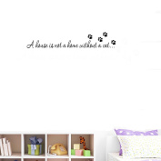 "BIBITIME Cat Footprint Puppy Paw Stickers Quotes Sayings ""A house is not a home without a cat..."" Vinyl Wall Decals Lettering Inspirational,DIY 60cm x 15cm"