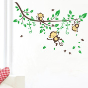 Wall Sticker, WILLTOO Tree Kids Jungle Monkey Nursery Wall Sticker Mural Decor Decal Removable