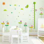 VanBest Grass Owl Height Measurement Growth Chart Wall Sticker Removable Wall Decals Home Living Room Kid's Bedroom Nursery Room Mural Art Decoration