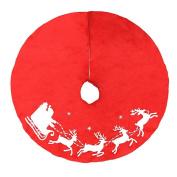 Tosangn COUNTRY CHRISTMAS Red Whimsical Santa Christmas Tree Decor Skirt