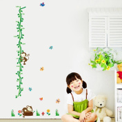 Love Dream Baby Height Growth Chart Removable Little Monkeys Tree & Animals Kids Room Nursery Wall Decals Stickers