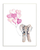 The Stupell Home Décor Collection Baby Elephant with Pink Heart Balloons Wall Plaque Art