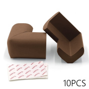 JoieeS Safety Bumper [X 10pic] [Brown] Corner Guards for Home Furniture Baby Child Proof Table Protector with 3M Adhesive