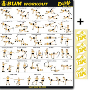 Eazy How To Bum Exercise Banner Workout Poster BIG 70cm X 50cm Bum Lift & Build Round Butt Home Gym Chart
