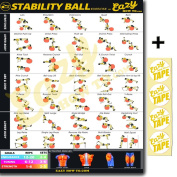 Eazy How To Stability Ball Exercise Workout Banner Poster BIG 70cm X 50cm Train Endurance, Tone, Build Strength & Muscle Home Gym Chart