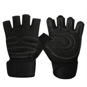 bargain house Weight Lifting Gloves Gym Workout Wrist Wrap Sports Exercise Training Fitness Black M