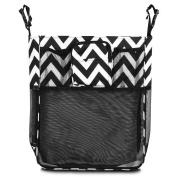 Zodaca Stroller Organiser Bag, Black/White Chevron