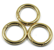 3pcs Gold Plated Alloy Round Spring Snap Hooks Clip 35mm