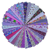 Grannycrafts 36pcs 20x30cm Top Cotton Printed Craft Fabric Bundle Squares Patchwork Lint Print Cloth Fabric Tissue DIY Sewing Scrapbooking Quilting Purple Series