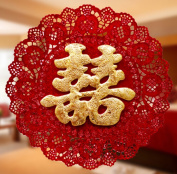 Dmeiling Chinese Traditional Wedding Decoration Supplies Red Non-Woven Double Happiness Cut - Gold Flash - Heart-Shaped Lace Hi New Wedding Room Decoration 2 Pcs