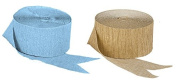 Light Blue and Metallic Dark Gold Crepe Paper Streamers (2 Rolls Each Colour) MADE IN USA!