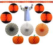 11-Piece Deluxe Halloween Honeycomb Tissue Paper Decoration Kit