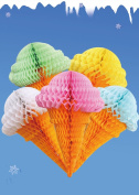 Sopeace Set of 5 Assorted Colour Party Hanging Ice Cream Tissue Paper Honeycomb Ball Wedding Birthday Decoration