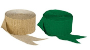 Green and Dark Metallic Gold Crepe Paper Streamers (2 Rolls Each Colour) MADE IN USA!