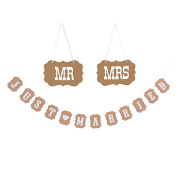 """MR & MRS JUST MARRIED""Bunting Banner-Hanging Flag Garland Kraft Paper Flags Bunting Banners for Wedding Party Decorations"