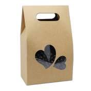 Kraft Paper Take Out Container Handle Box Cupcake Candy Bakeware Wrapping Merchandise Decorative Paperboard Treat Gift Paper Cardboard Boxes 10.5x15+6cm (4.1x5.9x2.3 inch)