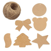120pcs Brown Assorted Shaped Square Tree Bowtie Star Bear Round Leaf Kraft Paper Gift Tags Blank Paper Label with 30 Metres Jute Twine for Wedding Birthday Gift Decoration
