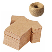 BUYITNOW T-shirt Shaped Kraft Paper Hang Tags Decorative Banners with 30m Jute String