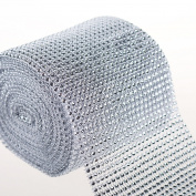 10 Yard (12cm Wide) Silver Diamond Rhinestone Mesh Ribbon Wrap by PMLAND