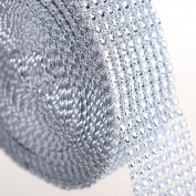 10 Yard (3.8cm Wide) Silver Diamond Rhinestone Mesh Ribbon Wrap by PMLAND