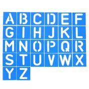 Shappy 26 Pieces Plastic Letter Stencil Alphabet Stencils Set for Painting Learning DIY, Blue