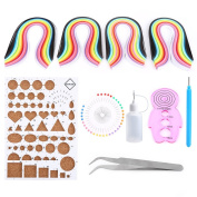 DIY Paper Craft Template Kit, DIY Quilling Paper Craft Rolling Kit 260 Strips Board Tweezer Pins Slotted Pen Quilling Tools for Beginner